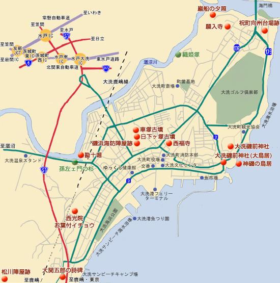 歴史施設の地図