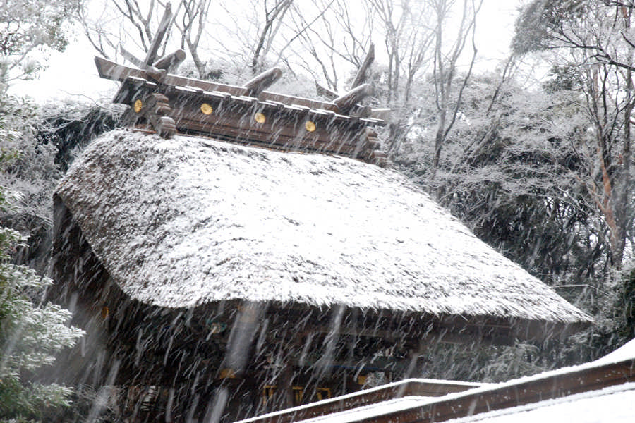 雪中的大洗矶前神社本殿