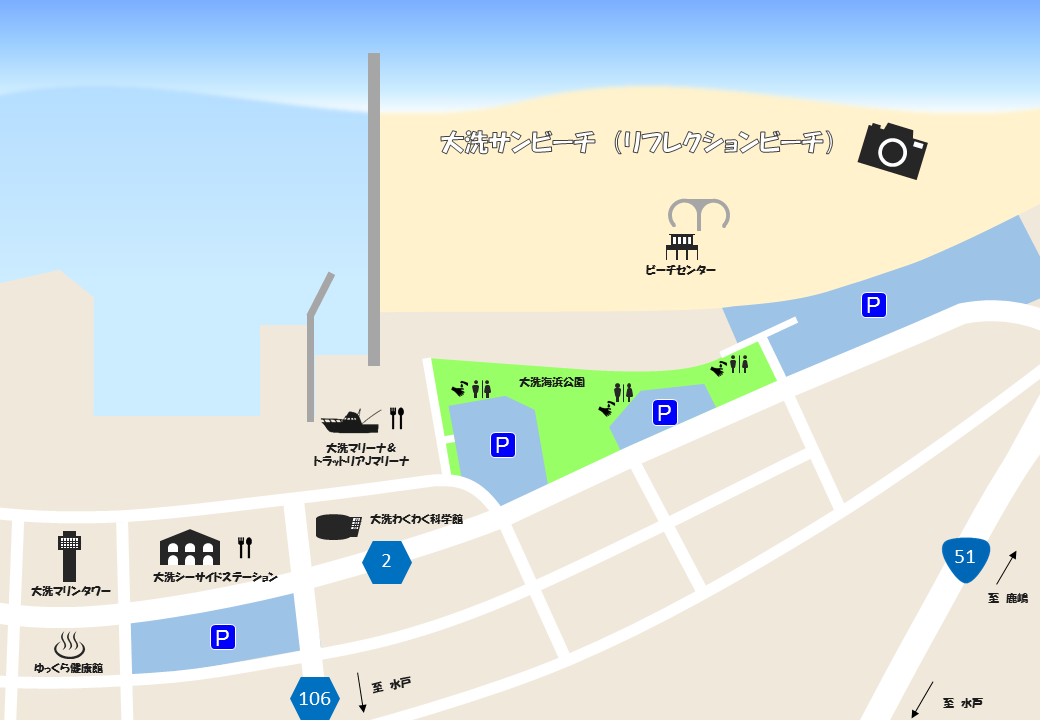 リフレクションビーチ地図